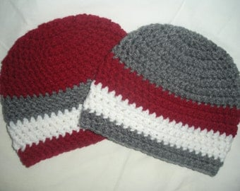 Twin baby boy hats, twin baby gifts, crochet twin hats, newborn photo prop, 0-3 month twin hat, red gray stripe, baby boy gift, crochet baby