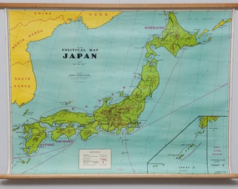 Vintage, cloth, canvas, physical map of Japan (circa 1960's)