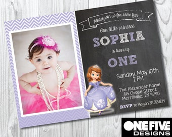 Princess Sophia The First Birthday Invitation - Printable (5X7)