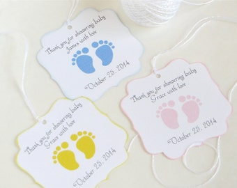 Good Baby Feet Custom Baby Shower Favor Tags, Footprint Baby Shower Thank You  Tags, Personalized