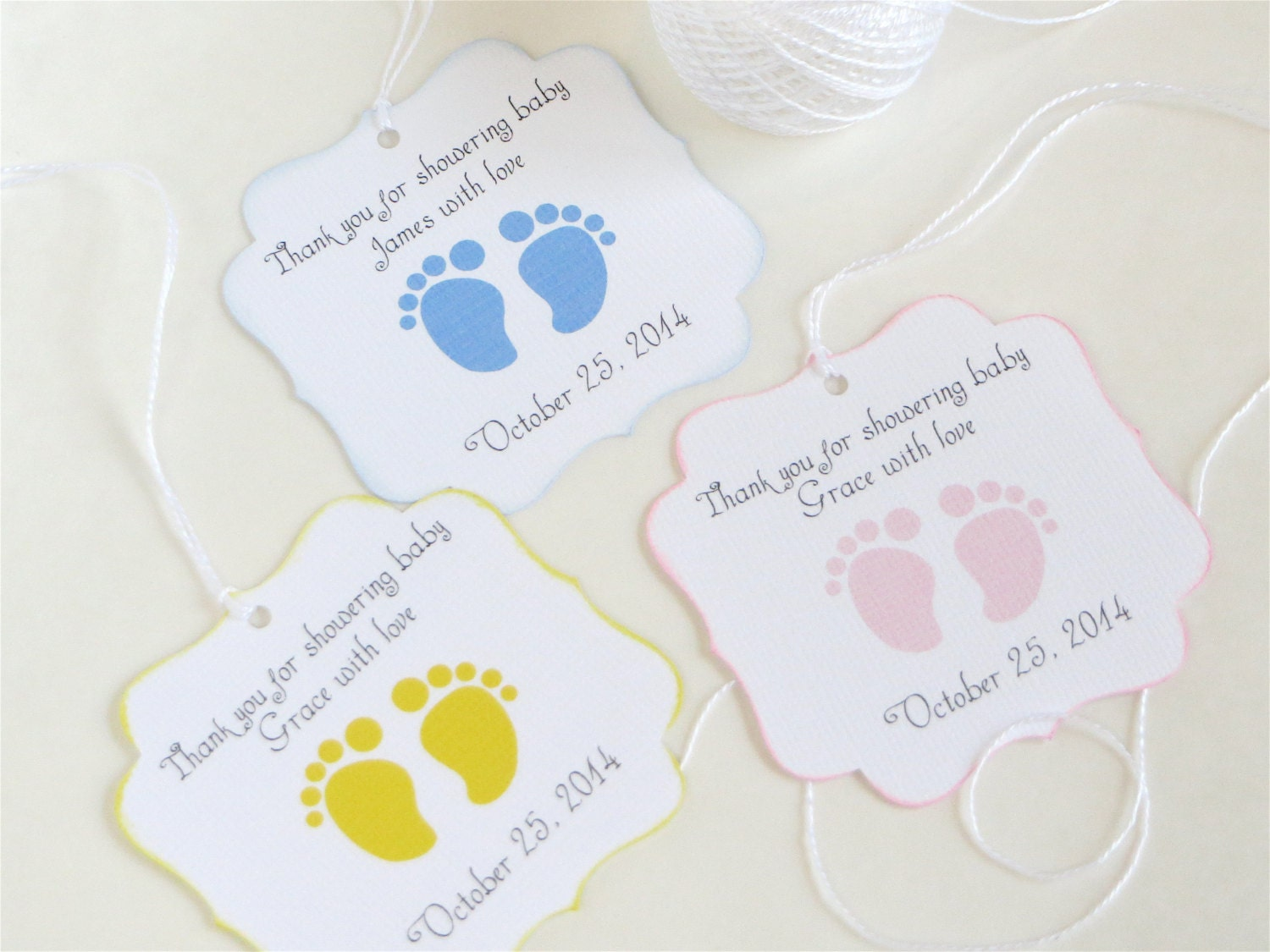 baby feet custom baby shower favor tags footprint baby shower