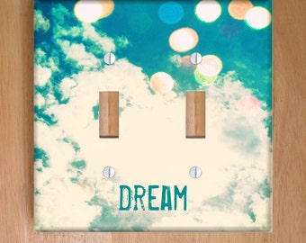 Dream Vinyl Double Light Switch Cover, Outlet Cover, Wallplate, Home Decor, Bokeh, Clouds, Blue, Sky, Whimsical, Dreamy, Nursery, Bedroom