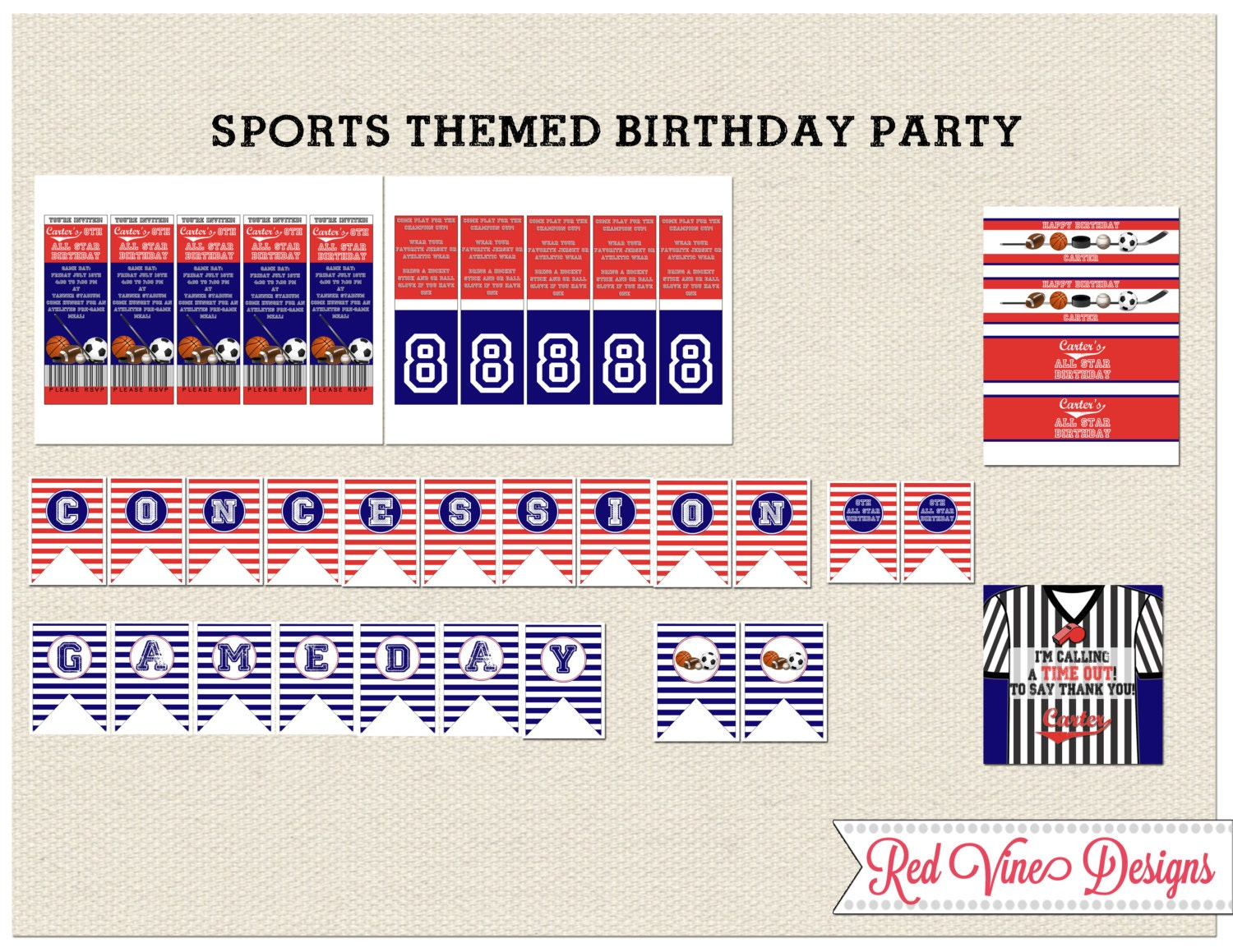 sports theme party printables and invitation. Black Bedroom Furniture Sets. Home Design Ideas