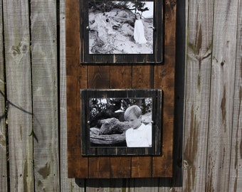 wooden plank frame double 8x10 photos handmade picture frame stained planks with black wooden mats