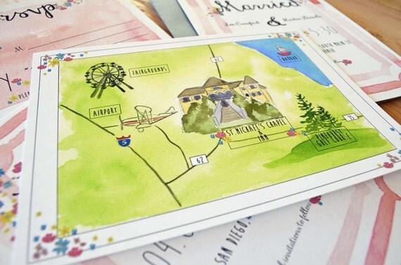 Custom Wedding Map - Wedding Map - Watercolor Wedding Map - Hand-painted Wedding Map