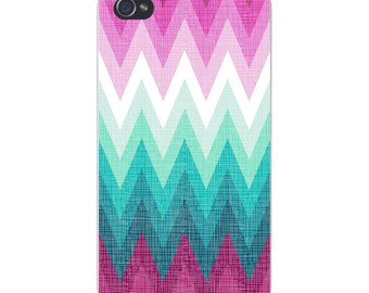 Apple iPhone Custom Case White Plastic Snap on - Multicolor Faded Chevron Pattern 4722