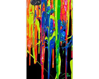 Apple iPhone Custom Case White Plastic Snap on - Thick Colorful Paint Dripping Splatters on Black 4799