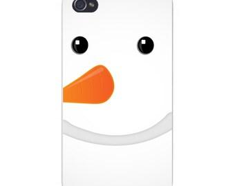 Apple iPhone Custom Case White Plastic Snap on - Closeup Snowman Face w/ Carrot Nose 5109