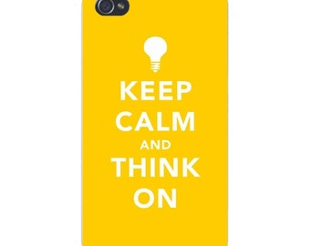 "Apple iPhone Custom Case White Plastic Snap on - ""Keep Calm and Think On"" Idea Light Bulb 7439"