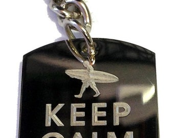 Keep Calm and Surf On Surfer Guy - Metal Ring Key Chain SURF ON MAN