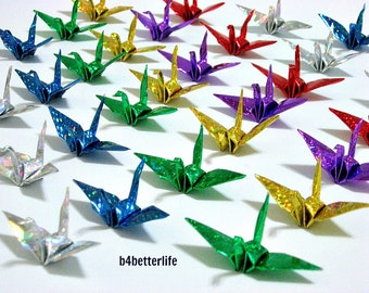 Lot of 180pcs 5.5cm Chiyogami Yuzen Origami Cranes Hand-folded From Square Paper 5.5 x 5.5cm. (4D Glittering paper series). #FCA-9.