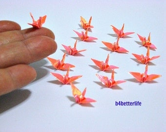 "100pcs Orange Color 1-inch Origami Cranes Hand-folded From 1""x1"" square papers. (AV paper series). #FC-05."
