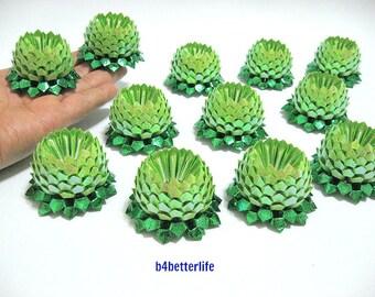 Lot of 12pcs  Lime Green Mini Size Origami lotus. (RS paper series).