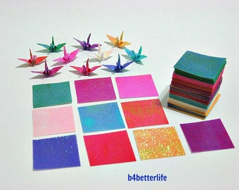 "Lot of 180 Sheets 1-inch Origami Crane Paper Folding Kit In Assorted Colors. 1"" x 1"". (TX paper series)."