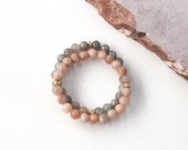 Gemstone Stacking Bracelet Sunstone or Labradorite Blush Grey Pastel Boho Neutral
