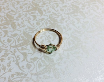 Light green crystal ring