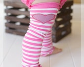 Striped Pink Ruffled Baby Leg Warmers With Gray Heart Accent