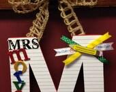 Teacher-Personalized-Door Hanger-Initial-Name-Classroom Decor-Burlap