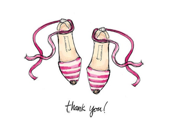 Striped Espadrilles: Illustrated Thank You Cards
