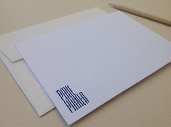 Personalized letterpress stationery - Empire - Set of 25 cards & envelopes