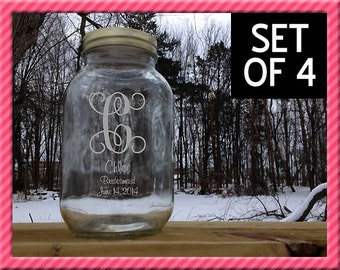 Personalized Mason Jars, Set of 4, Personalized with etched Vine Initial or Monograms, Bridesmaids Gift Wedding