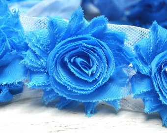 """2.5"""" Turquoise shabby flower trim - frayed chiffon - rose flowers by the yard - JT turquoise"""