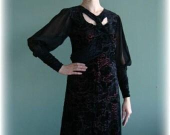 Hollywood Vintage Black Velvet Chiffon Dress