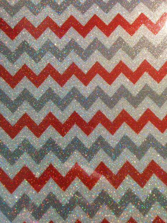 Cuttable Glitter Chevron Heat Transfer Vinyl Red Silver Grey