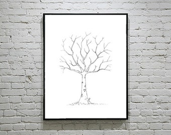 Wedding Guest Book Alternative Thumbprint Tree | Wedding Tree Guestbook | Wedding Guestbook Ideas | Personalized Guest Book | Keep Sake