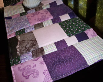 Quilted Table Runner, Purple