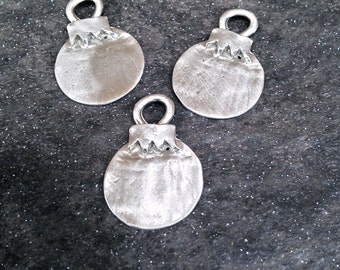 Pewter Stamping Blanks - Small Organic Ball Ornament - Casted Hand Stamping Blanks - Christmas Blanks (M165C)