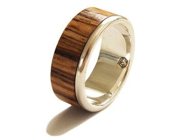 Men S  Kt Gold Ring Ebony With Diamond