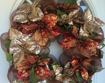 Christmas wreath, deco mesh wreath, Christmas decor, holiday decor, christmas decoration,holiday decorations,holiday wreath,poinsettia,w1073