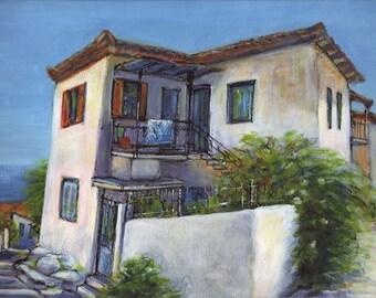 Koroni Corner House - Original Acrylic Painting of old house in Koroni, Messinia, Greece