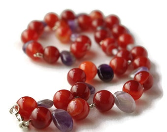 Red necklace, purple necklace, red agate necklace, orange necklace, amethyst necklace, Birthday present, February birthstone,