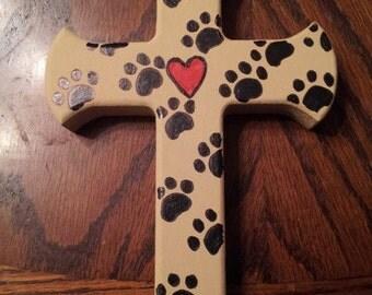 Paw Prints on my Heart Handpainted Wooden Cross