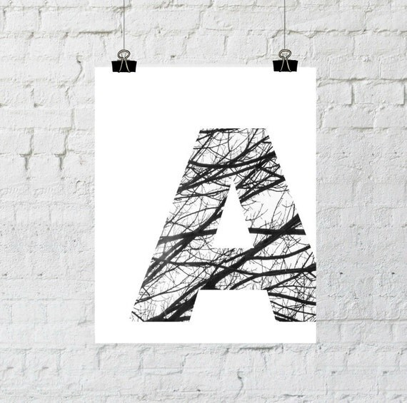 Black and White, Letter A, Tree Branch Art Print, Tree Branch Photography, Typographic Home Decor, Instant Download Printable Art