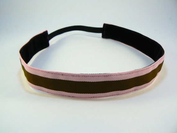 Light pink & brown striped non-slip headband for everyday and active wear