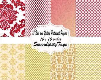 8 Red and Yellow Patterned Papers
