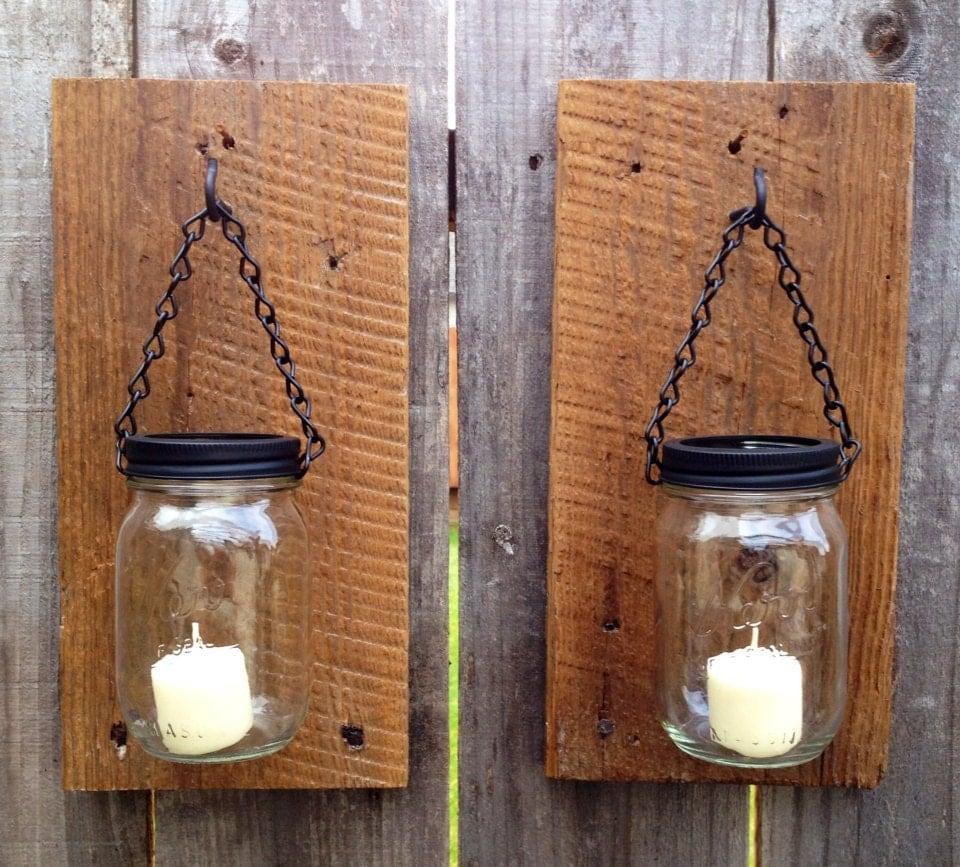 Rustic barn wood mason jar candle holders for Rustic wood candle holders