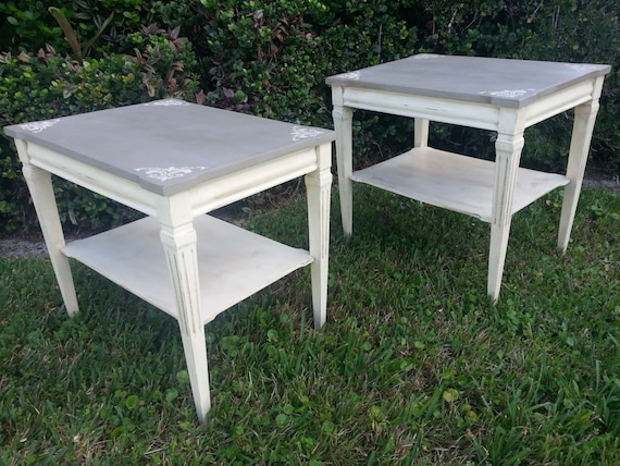 Pair Of Shabby Chic Vintage Antique End Tables In Annie Sloan