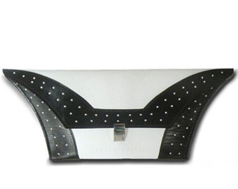 White Leather Clutch Bag With Black Detail By Steven Harkin