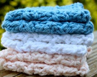 100% Cotton- Set of 3 Crochet Dishcloths - Seashore- Hostess/Wedding Gift- Ready to Ship