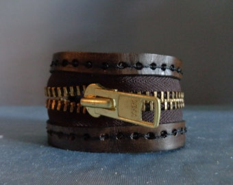 Leather Cuff by Artrix Leather and Fine art - Zipper Cuff