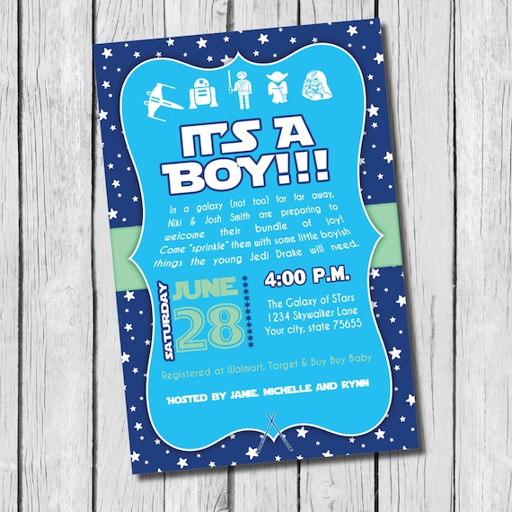 star wars baby shower invitation diy printable jedi its a boy