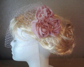 Pink Birdcage Veil and Rose Floral Hairpiece, Top Comb Veil with 3 Pink Rosettes, 9 inch Pink Bridal Veil with Pink Roses, Pink Wedding Veil