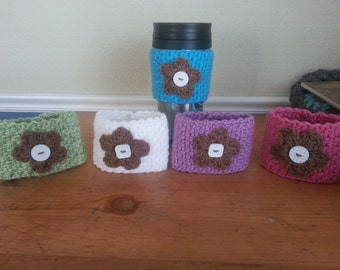 Spring Cup Cozies with Brown Flowers