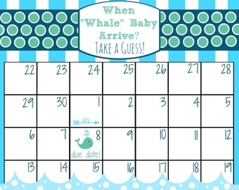 Printable Baby Due Date Calendar, Customizable Guessing Baby Shower Game, Baby Sprinkle Game, Boy, Whale