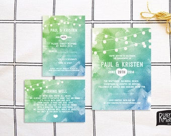 String Lights Wedding Invitation, RSVP, Wishing Well - digital/printed - destination wedding, tropical wedding, watercolor, turquoise, green