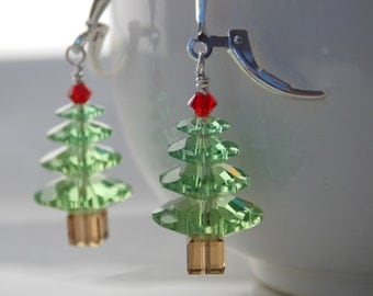 Christmas Tree Earrings in Swarovsky Crystal with Sterling Silver Clasp